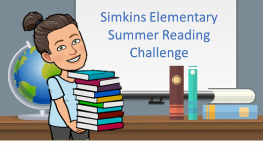 Text -Simkins Summer Reading challenge with a woman and a stack of books, globe, and a desk