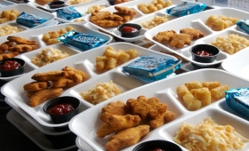 lunch trays with food