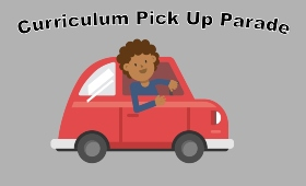 Person driving car with sign saying curriculum pick up parade