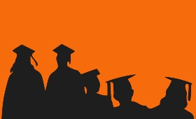Graduates on an orange background