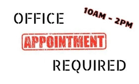 Sign saying Office Appoints Required