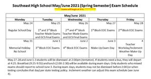 Picture of SEHS Exam Schedule updated April 20, 2021