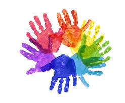 colored handprints forming a circle