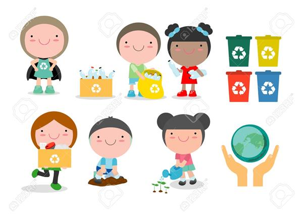 cartoon image of children recycling