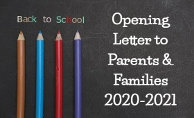 chalkboard with text: Back to School, Opening Letter to Parents & Families 2020-2021