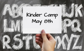 chalkboard of ABCs - Kinder Camp May 8th