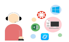 person with computer and different symbols - Nearpod, Canvas, Microsoft Windows