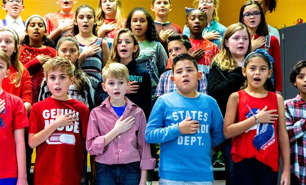 Students sing at Summerfield Elementary