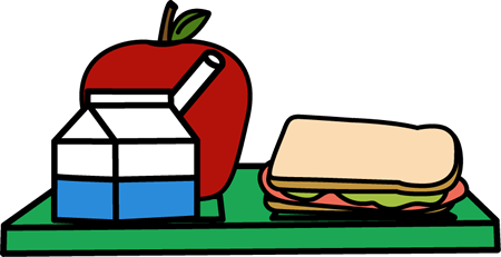 Lunch tray milk apple sandwich