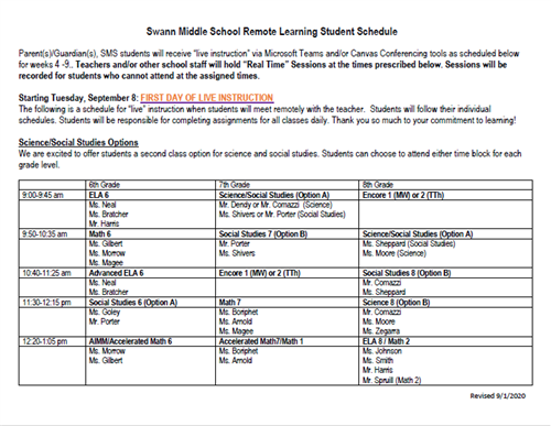 Remote Learning Student Schedule