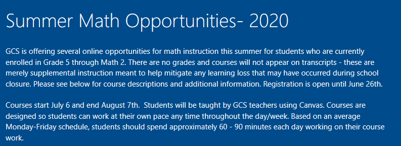 Summer Math Opportunities- 2020