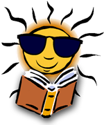 Clipart - sun face reading a book