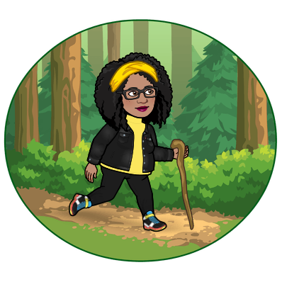 Bitmoji character holding a wooden walking stick,  hiking through the woods