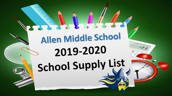 Flyer with crayons, pencils and supplies advertising the updated supply list.