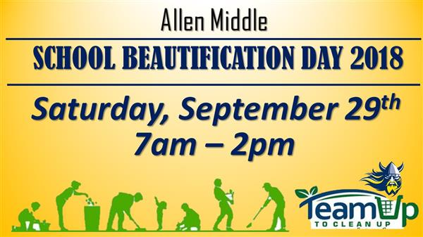 flyer with dates and time for school clean up. team up clean up logo