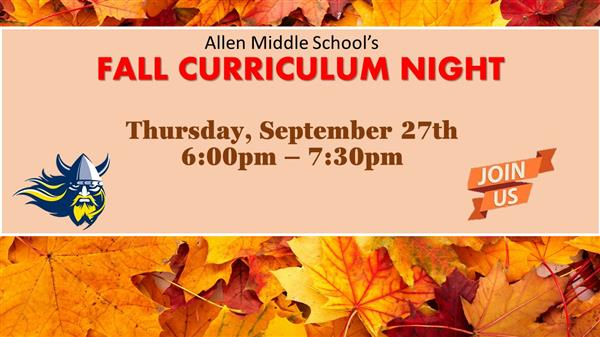 Flyer for fall curriculum night on Thursday September 27th from 6pm to 730pm
