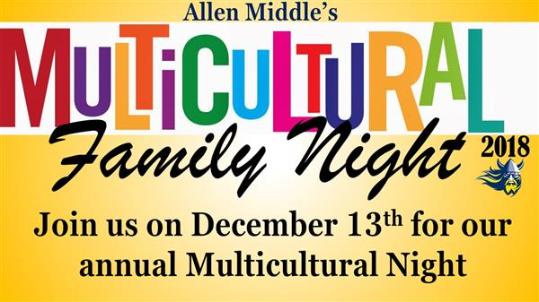 colorful flyer for Multicultural family night on Dec 13th