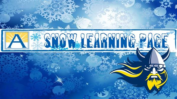 Snow learning logo with snowflake background