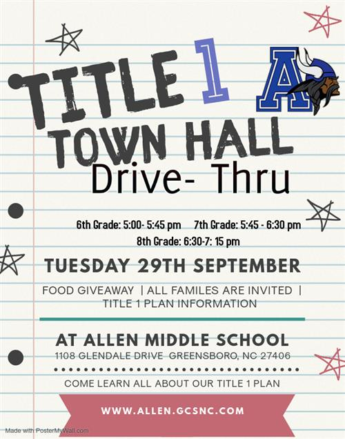 Title 1 Town Hall drive thru food giveaway all families are invited title 1 plan information Tuesday 29th september