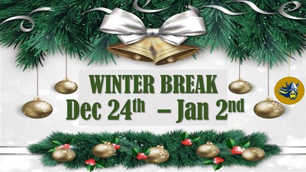 Evergreen and ornament photo with winter break dates of Dec 24th to Jan 2nd