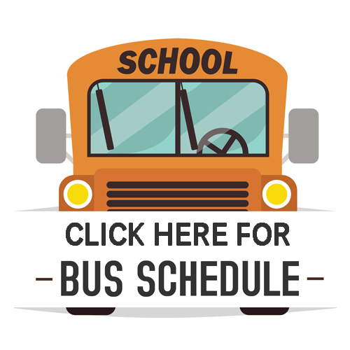 front of school bus with saying Click here for bus schedule