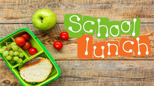 photo and sandwich and fruit with school lunch logo