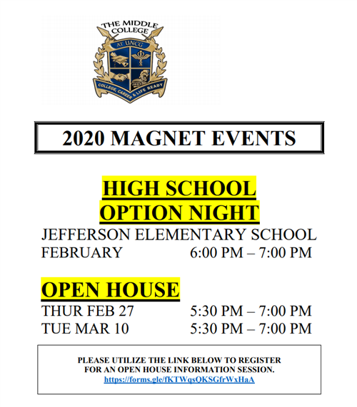 Click here to access the Open House & Magnet Application Link