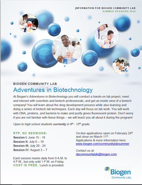 Biogen Free Summer Lab Program