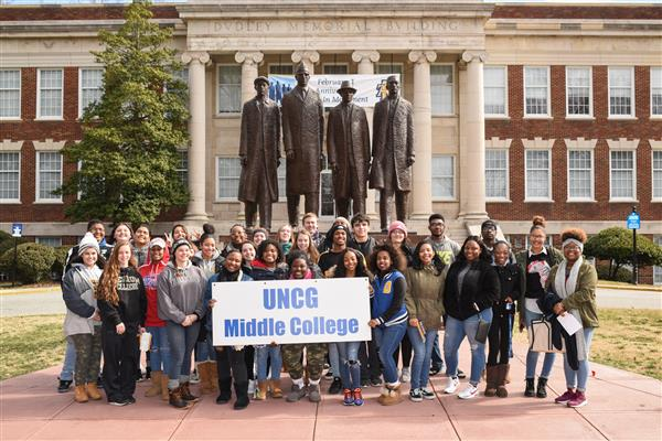 Middle College at UNCG students on campus of NC A&T
