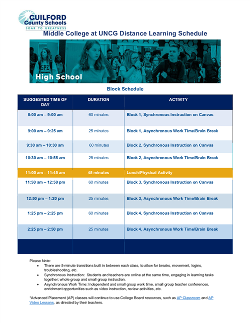 MCUNCG Distance Learning Schedule