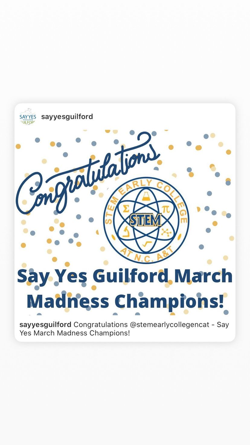 STEM Early College at NC A&T Wins Say Yes Guilford's March Madness Championship Logo Image