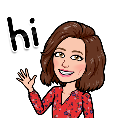 "Cartoon bitmoji of Mrs. Ogden. She has short brown hair and is wearing a red, floral dress. She is waving ""hi."""