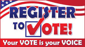 red white and blue voter registration flyer