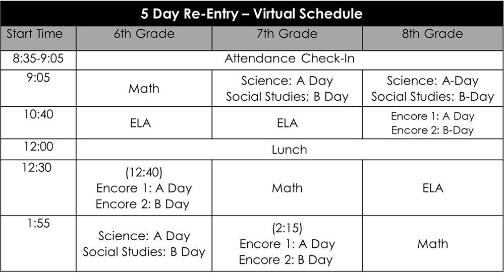 Welborn Academy 5 Day and virtual schedule