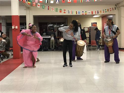 Otesha creative arts group dancing at Welborn Academy Multicultural Night