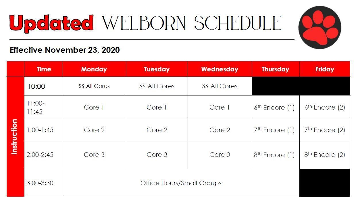 Welborn Updated Class Schedule