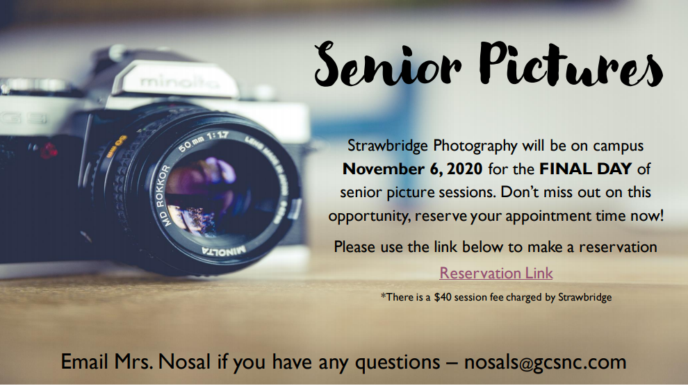 Strawbridge Photography will be on campus November 6, 2020 for the FINAL DAY of senior picture
