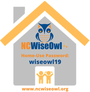 NCWise Owl Home use password wiseowl19 on an image of house with an image of boy and girl by www.ncwiseowl.org