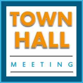 The words Town Hall Meeting in gold surrounded by a blue border