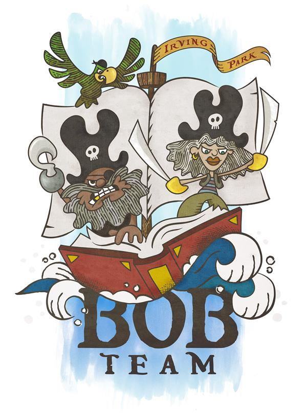 Battle of the Books logo with two pirates on a boat made out of a book.