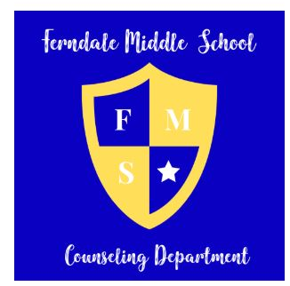 This is an image of a shield with FMS and a star on it. The words around it say Ferndale Middle School Counseling Department.