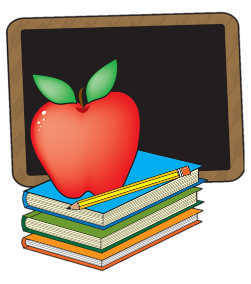 Picture of books, apple, pencil and chalkboard