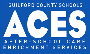 Guilford County Schools Aces logo (blue & white)