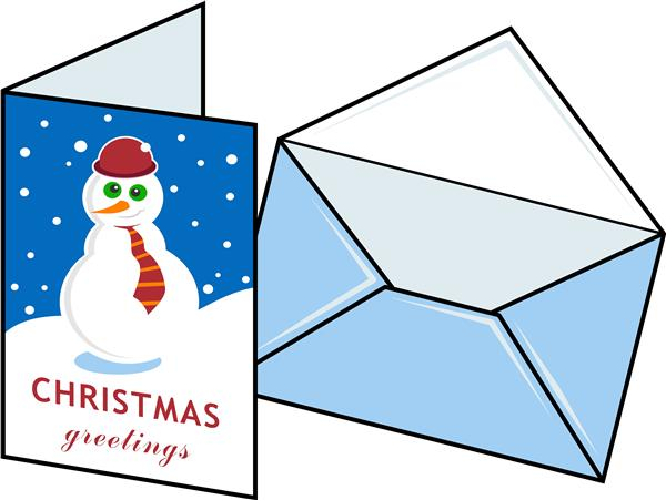 Holiday card with a snowman on it and an envelope beside it