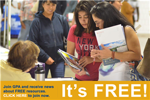 "People looking at books and the text ""Join GPA and receive news about FREE resources.  CLICK HERE to join now.  It's FREE!"""