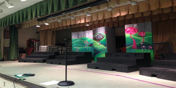 Picture of the stage at Irving Park Elementary