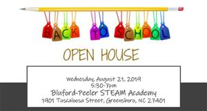 Picture of graphic about Bluford Peeler Open House