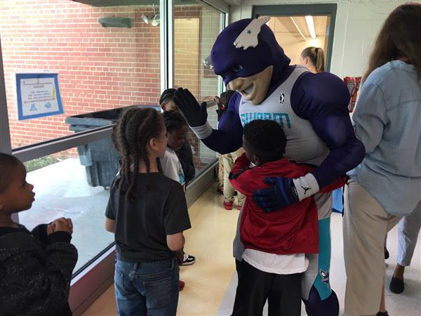 Sergeant Swarm Mascot with Students at Bluford Elementary
