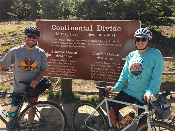 Megan and I at the Continental Divide on Trail Ridge Road in Rocky Mountain National Park