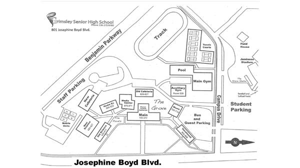 Map of Grimsley High School located at 801 Josephine Boyd Blvd.